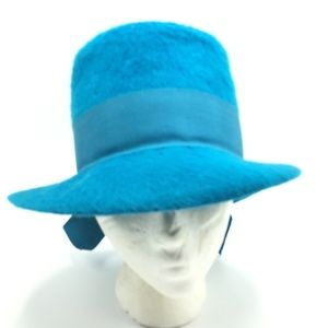 Vintage Wool Fedora Blue Ribbon Furry Fuzzy USA